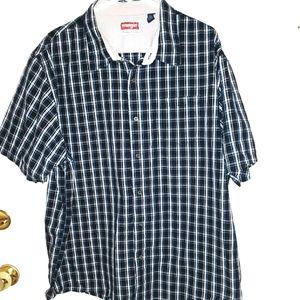 Wrangler button up shirt - black w/white & blue